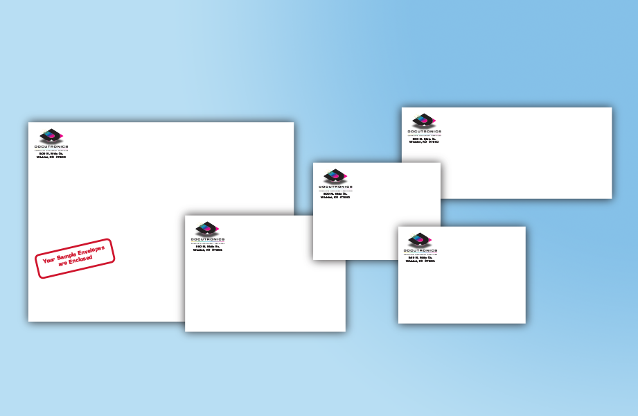 Full color printed envelopes.
